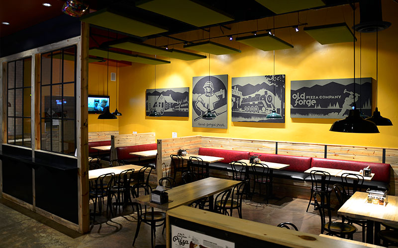 Interior design photo of the restaurant Old Forge Pizza in Edwards, CO designed by Shike Design